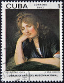 "CUBA - CIRCA 1982: A stamp printed in Cuba shows the ""Portrait of a Youth (girl)"", by Jean B. Greuze, circa 1982 — Stockfoto"