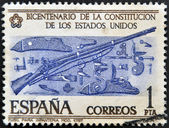 SPAIN - CIRCA 1957: A stamp printed in Spain commemorating the bicentennial of the United States Constitution, shows infantry rifle mod. 1757, circa 1957 — Stock Photo