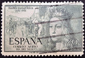SPAIN - CIRCA 1951: A stamp printed in Spain shows Queen Isabel the Catholic, circa 1951 — Stock fotografie