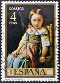 "SPAIN - CIRCA 1974: A stamp printed in spain shows the painting ""baby"" by Eduardo Rosales, circa 1974 — Stock Photo"
