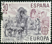 SPAIN - CIRCA 1981: A stamp printed in Spain shows pilgrimage of the Virgen del Rocio, circa 1981 — Stock Photo
