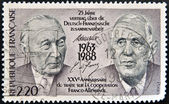 FRANCE - CIRCA 1988: A stamp printed in France, dedicated to 25th anniversary of the Franco-German Cooperation Treaty, shows the Konrad Adenauer and Charles de Gaulle, circa 1988 — Stock Photo