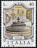 ITALY - CIRCA 1974: A stamp printed in Italy shows Fontana Maggiore, Perugia, circa 1974 — Stock Photo
