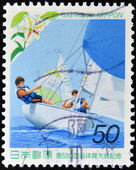 JAPAN - CIRCA 1998: A stamp printed in Japan dedicated to The 53rd National Sports Festival, shows a boat race, circa 1998 — Stock Photo