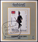 MANAMA - CIRCA 1970: A stamp printed in Manama shows Brunswick Black Corps, 1809, circa 1970 — Stock Photo