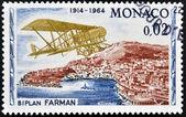 MONACO - CIRCA 1964: stamp printed in Monaco shows Farman biplane, circa 1964 — Stock Photo
