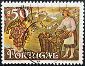 PORTUGAL - CIRCA 1970: A stamp printed in Portugal shows woman picking grapes for Porto wine, circa 1970 — Stock Photo