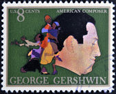 UNITED STATES OF AMERICA - CIRCA 1973: A stamp printed in USA shows the great American classical and jazz composer and pianist George Gershwin, circa 1973 — Foto Stock