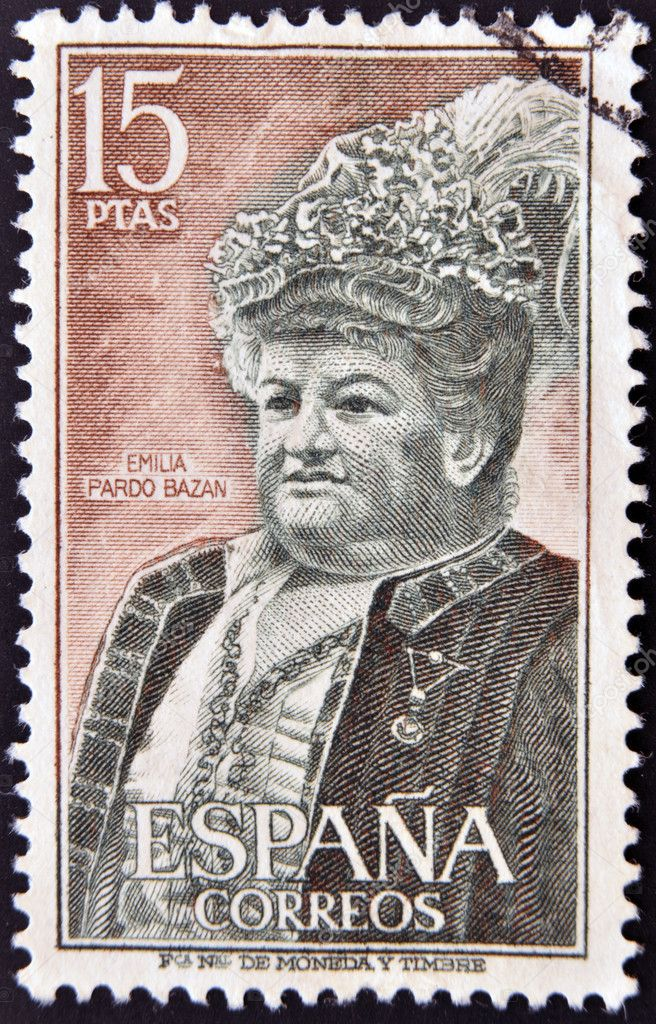 SPAIN - CIRCA 1972: A stamp printed in Spain shows Emilia Pardo Bazan, circa 1972 — Stock Photo #10893818