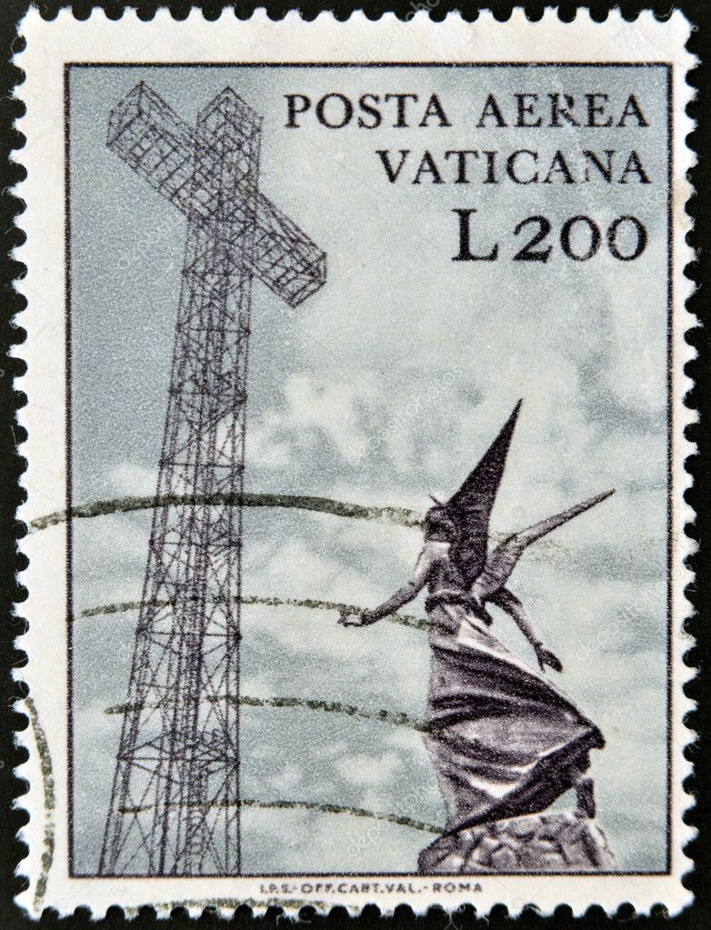 VATICAN - CIRCA 1970: A stamp printed in Vatican shows marble statue of angel and metal cross, circa 1970  Stock Photo #10894815