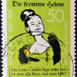 Stock Photo: GERMANY - CIRC1982: stamp printed in Germany dedicated to 150th Birth anniversary of writer and illustrator Wilhelm Busch showing Good Helene, circ1982.