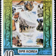 Stock Photo: DEMOCRATIC 'S REPUBLIC (DPR) of KORE- CIRC1980: stamp printed in North Koreshows Edmund Hillary and Shri Tenzing, series Conqueror of Eath, circ1980