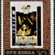 Stock Photo: DEMOCRATIC 'S REPUBLIC (DPR) of KORE- CIRC1980: stamp printed in North Koreshows Auguste and Jacques Piccard, one stamp from series Conqueror of sea, circ1980