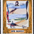Stock Photo: DEMOCRATIC 'S REPUBLIC (DPR) of KORE- CIRC1980: stamp printed in North Koreshows Louis Bleriot and his plane, one stamp from series Conqueror of Sky and Space, circ1980