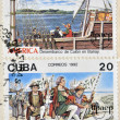 图库照片: CUB- CIRC1992: Stamps printed in Cubshows Columbus landed in El Salvador and Bariay, circ1992