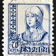 SPAIN - CIRCA 1965: A stamp printed in Spain shows image of Isabella I of Castile, former Queen of Castile and Leon, circa 1965 — Stock Photo