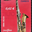 SPAIN - CIRC2010: stamp printed in Spain shows tenor saxophone,circ2010 — Stock Photo #11015623