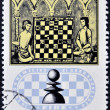 HUNGARY - CIRCA 1974: stamp printed in Hungary, shows Chess Players and 13th century manuscript, circa 1974 — Foto de Stock