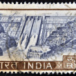 Stock Photo: INDI- CIRC1970: stamp printed in Indishows hydroelectric dam, circ1970
