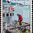 Stock Photo: ICELAND - CIRC1963: stamp printed in Iceland dedicated to global campaign against hunger shows fishermen, circ1963