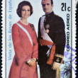 DOMINICAN REPUBLIC- CIRC1976: stamp printed in DominicRepublic shows kings of Spain, JuCarlos I and Sofiof Greece, circ1976 — Stock Photo #11015866