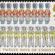 Stock Photo: UNITED KINGDOM - CIRCA 1977: A stamp printed in the Great Britain shows Nine Drummers Drumming and Ten Pipers Piping, the Twelve Days of Christmas, circa 1977