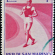 Stock Photo: SAN MARINO - CIRC1954: stamp printedin SMarino shows Walking Racer, circ1954