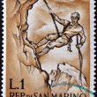 Stock Photo: SAN MARINO - CIRC1962: post stamp printed in SMarino devoted to mountaineering, circ1962