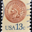 UNITED STATES OF AMERICA - CIRCA 1978: A stamp printed in the USA shows a penny in 1877, Indian Head Penny, circa 1978 — Stock Photo