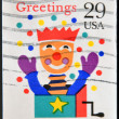 图库照片: UNITED STATES OF AMERIC- CIRC1993: stamp printed in USshows image of jack-in-a-box, circ1993