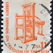 UNITED STATES OF AMERICA - CIRCA 1975: a stamp printed in USA shows Early American Printing Press, circa 1975 — Stock Photo