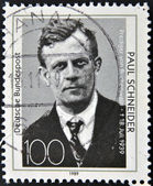 GERMANY- CIRCA 1989: stamp printed in Germany shows Paul Schneider Prussian pastor circa 1989 — Stock Photo