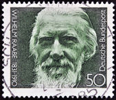 GERMANY- CIRCA 1981: stamp printed in Germany shows Wilhelm Raabe, poet, circa 1981. — Stock Photo