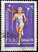 BRAZIL - CIRCA 1974: A stamp printed in Brazil dedicated to San Silvestre run, circa 1974 — Stok fotoğraf