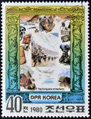DEMOCRATIC 'S REPUBLIC (DPR) of KOREA - CIRCA 1980: A stamp printed in North Korea shows Edmund Hillary and Shri Tenzing, series The Conqueror of Eath, circa 1980 — Stock Photo