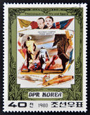 DEMOCRATIC 'S REPUBLIC (DPR) of KOREA - CIRCA 1980: A stamp printed in DPR Korea shows Secondo Campini and Frank Whittle and their plane, from series The Conqueror of Sky and Space, circa 1 — Stock Photo
