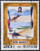 DEMOCRATIC 'S REPUBLIC (DPR) of KOREA - CIRCA 1980: A stamp printed in North Korea shows Louis Bleriot and his plane, one stamp from series The Conqueror of Sky and Space, circa 1980 — Foto Stock