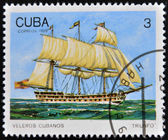 CUBA - CIRCA 1989: A Stamp printed in Cuba shows image of Cubans sailing, Triunfo, circa 1989 — Stock Photo