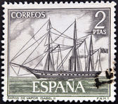 SPAIN - CIRCA 1964: A stamp printed in spain shows steamship Isabel II, circa 1964 — Stock Photo