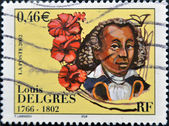 FRANCE - CIRCA 2002 : A stamp printed in France shows Louis Delgres leader by Napoleonic France, circa 2002 — Stock Photo