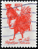 FRANCE - CIRCA 1992: A stamp printed in France commemorating the bicentennial of the French Republic, shows a gallic rooster with the face of Marianne, circa 1992 — Stock Photo