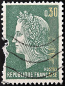 FRANCE - CIRCA 1967: A stamp printed in France, shows Marianne is a national emblem of France, circa 1967 — Stock Photo