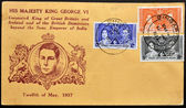 MALAYA - CIRCA 1937 : stamp printed in Malaya showing king George VI Coronation with Elizabeth Bowes-Lyon, circa 1937 — Stock Photo