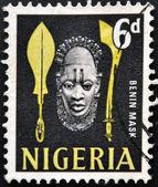 NIGERIA - CIRCA 1990: A stamp printed in Nigeria shows benin mask, circa 1990 — Stock Photo
