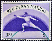 SAN MARINO - CIRCA 1954: A stamp printed by San Marino, shows Fencing, circa 1954 — Foto Stock
