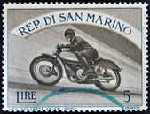 SAN MARINO - CIRCA 1954: A stamp printed in San Marino shows image of Motorbike race, circa 1954 — Stock Photo