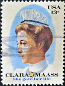 UNITED STATES OF AMERICA - CIRCA 1976: stamp printed in USA shows Clara Mass, she gave her life, circa 1976 — Stock Photo