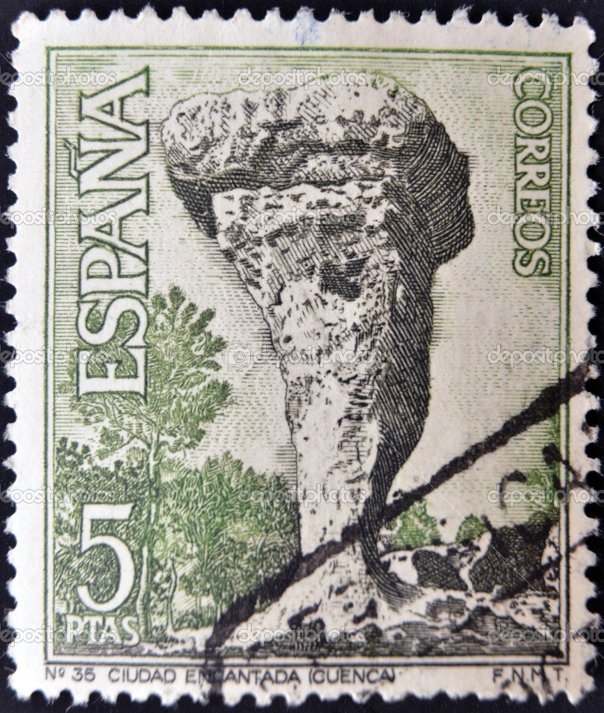 SPAIN - CIRCA 1967: A stamp printed in Spain shows La Ciudad Encantada, Cuenca, circa 1967  — Stock Photo #11015595