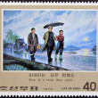 Stock Photo: NORTH KORE- CIRC1976: stamp printed in DPR KOREshows image of korean, Even at rainy deep night..., circ1976
