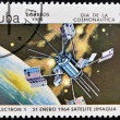 CUBA - CIRCA 1984: An airmail stamp printed in Cuba shows a space ship, satellite Jimagua, circa 1984. — Stock Photo #11244616